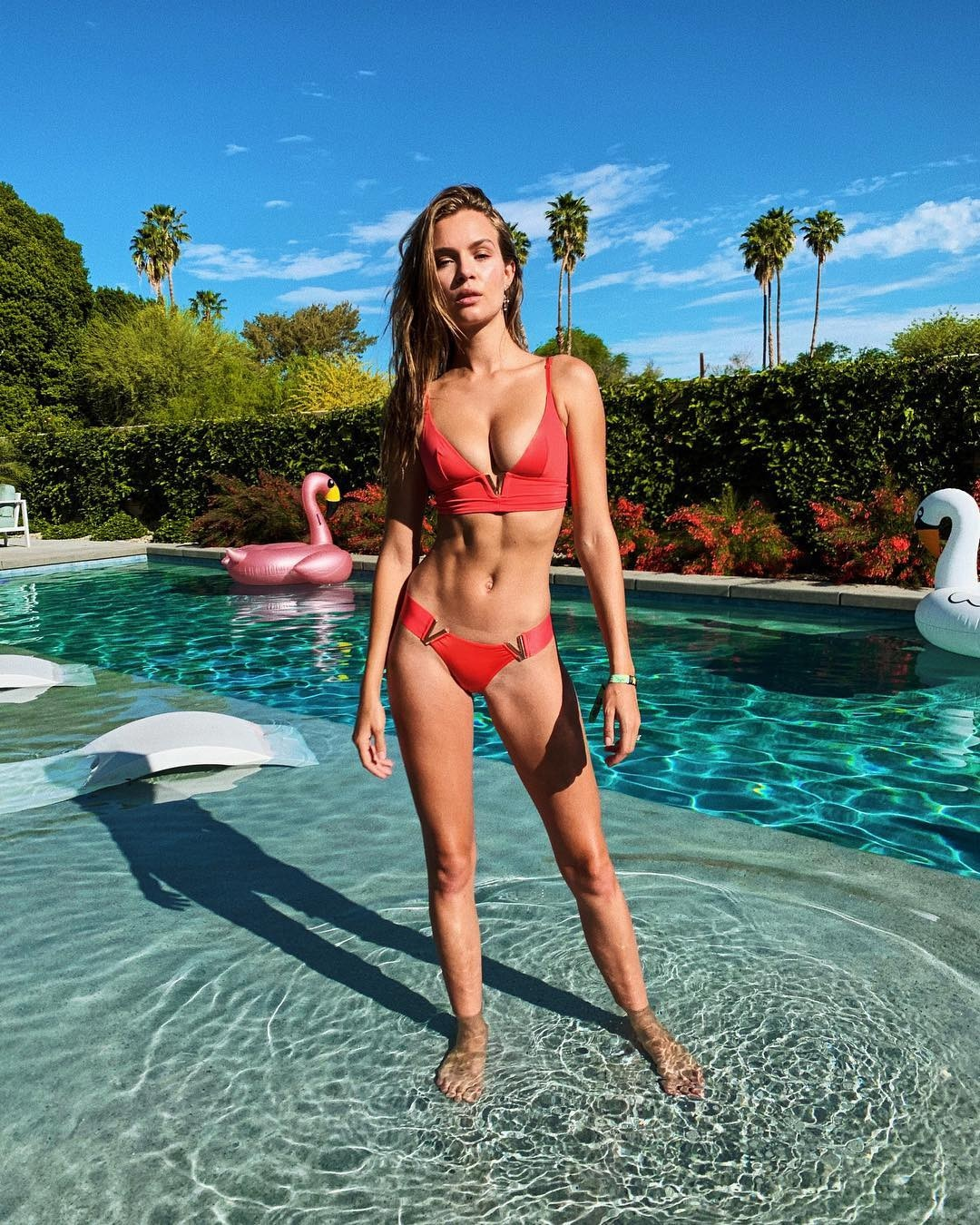 Josephine Skriver -  An angel in the desert! The Victoria's Secret model enjoys a day by the pool before heading into Weekend 2 of Coachella.