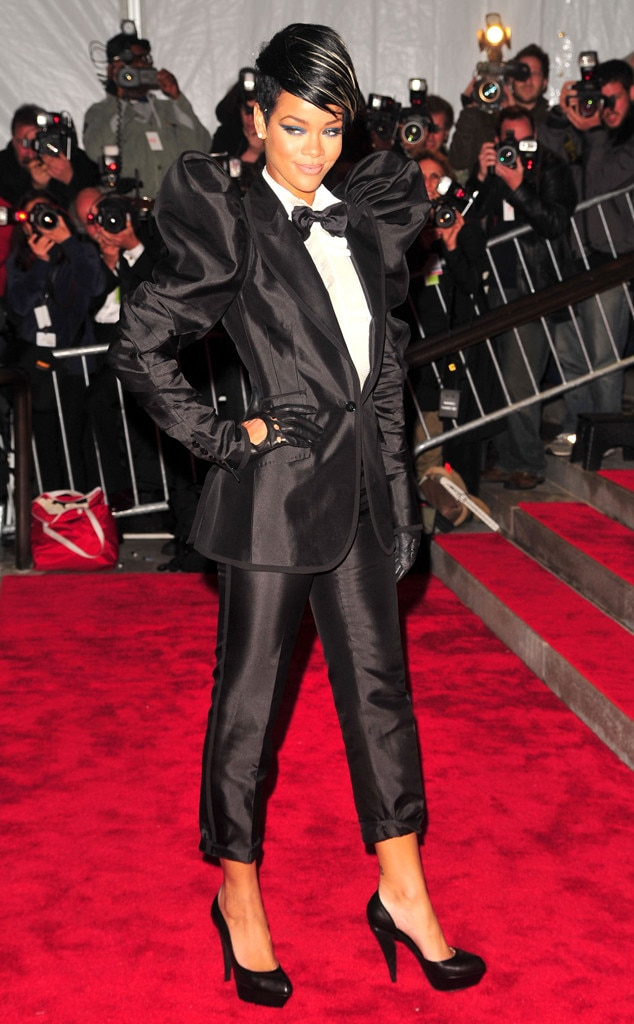 Rihanna -  The singer truly shined bright like a diamond in this tuxedo look.