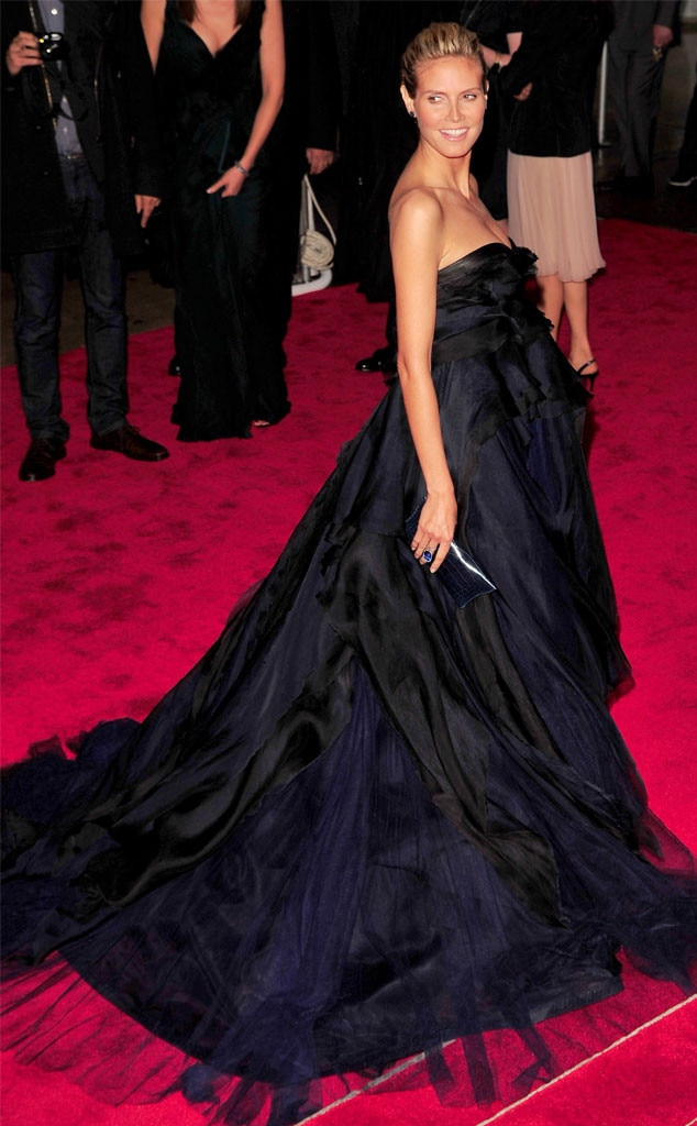 Heidi Klum -  The model wears a gorgeous black and purple J. Mendel gown that demanded attention on the red carpet.