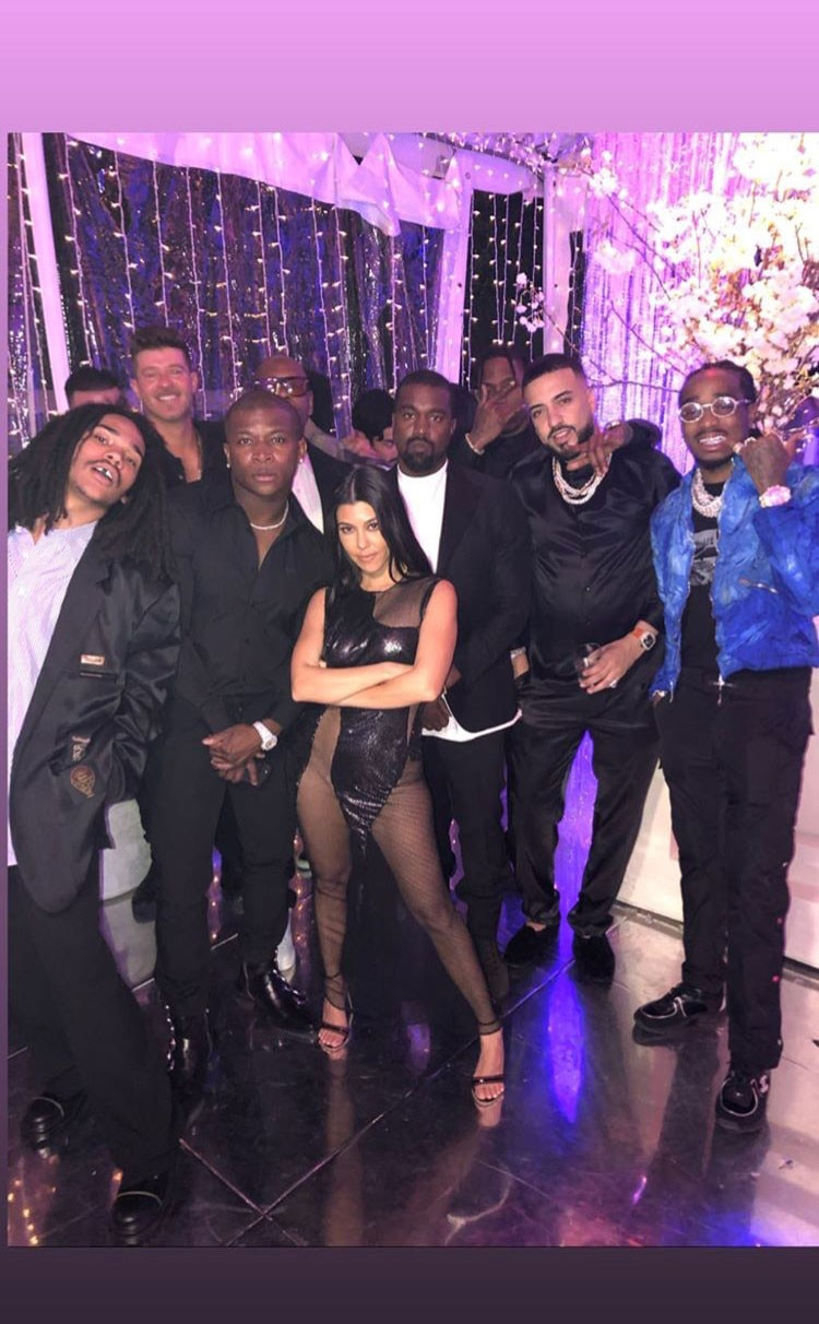 Kourtney and the Guys -  The birthday gal posed with a group of her male guests, including  Robin Thicke ,  French Montana ,  Kanye West  and recently  rumored beau Luka Sabbat .