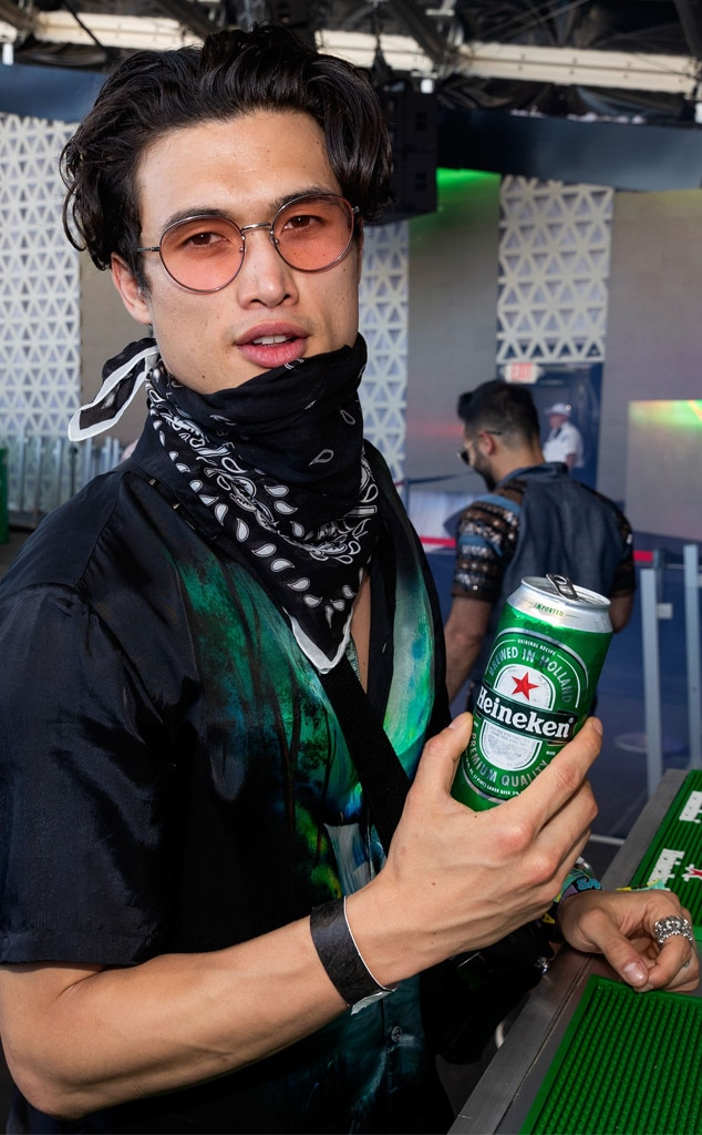 Charles Melton -  The  Riverdale  star handles the hot Indio heat with a cold one during the second weekend of Coachella.