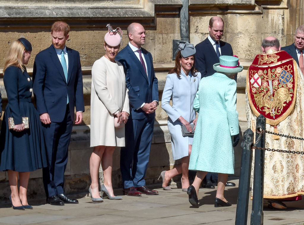 Prince William, Kate Middleton, Zara Tindall, Prince Harry, Mike Tindall, Queen Elizabeth, Easter Sunday Service