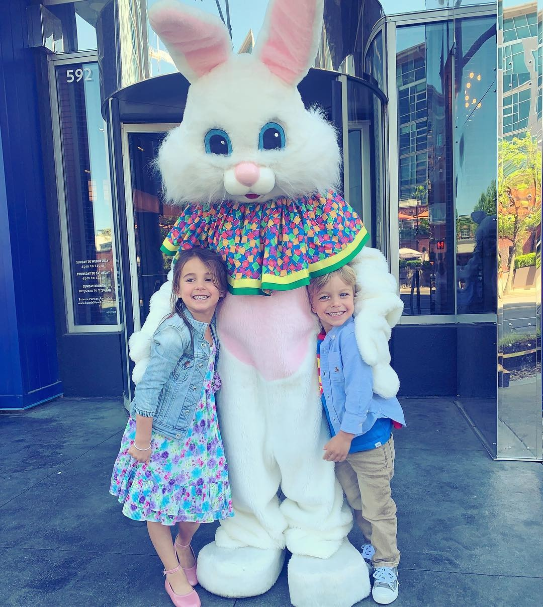 Jessie James Decker -  The country music starlet snaps this photo of her two eldest kids, Vivianne Rose  and Eric Jr. , with the Easter bunny.