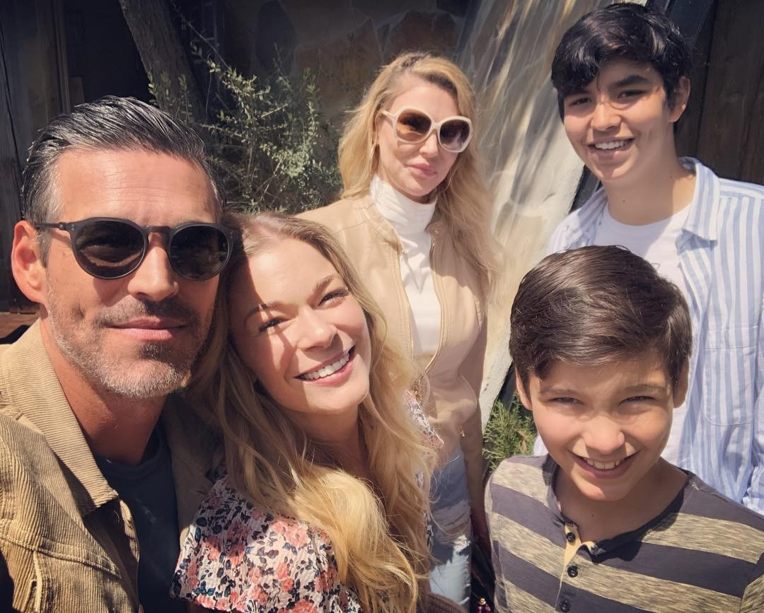 """Leanne Rimes, Eddie Cibrian & Brandi Glanville -  As Rimes described on Instagram, """"Our awkward family Easter photo/Christmas card?! Lol. Today has been a wonderful day. Many blessings to your family from all of us!"""" She later clarified that it was the pose she considered """"awkward,"""" not the fact that she was celebrating with her husband's ex and their kids."""