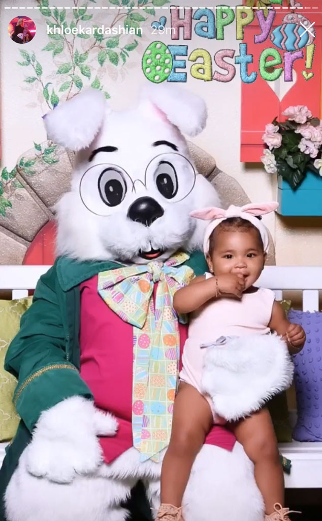 True Thompson -  True Thompson snuggles up with the Easter Bunny.