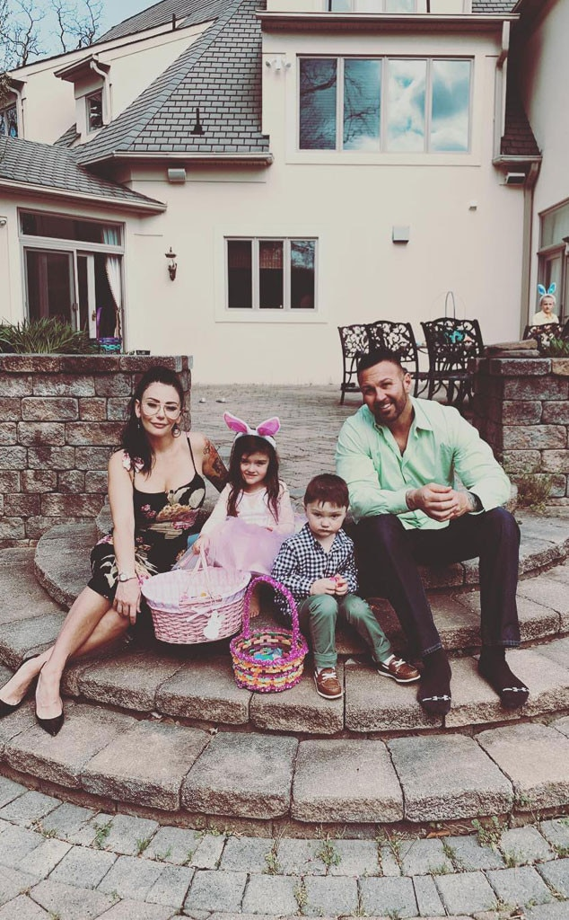 """Jenni """"JWoww"""" Farley & Roger Mathews -  The Jersey Shore  stars and their two kids, Meilani Mathews  and  Greyson Mathews , get into the Easter spirit with their basket of eggs."""