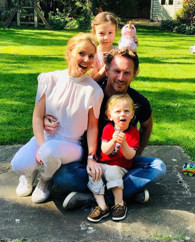 Geri Halliwell -  The Spice Girls  singer appears with husband Christian Horner  and kids Bluebell  and  Montague .
