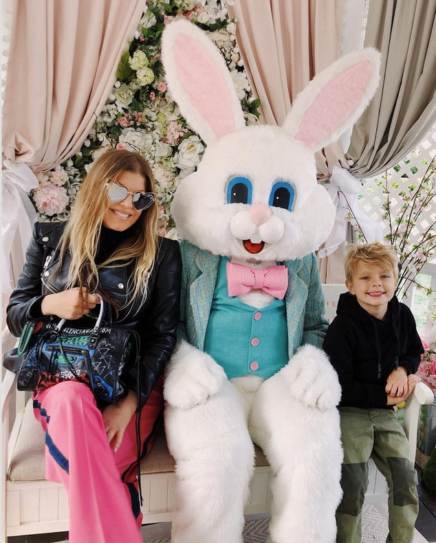 Fergie -  The singer visits the Easter Bunny with son Axl .