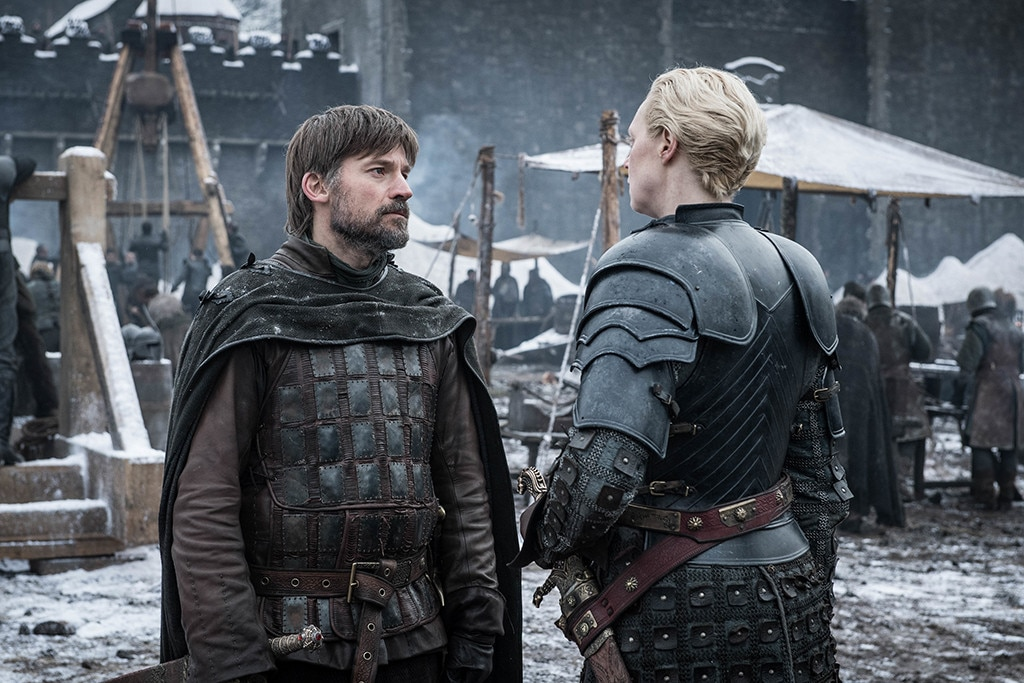 Gwendoline Christie on Crying Over Jaime -  When Jaime left Brienne for his sister, she cried and asked him to stay. Christie sees this not as Brienne reduced to crying over a boy, but  told TVLine  that it was stronger to express herself in that moment.