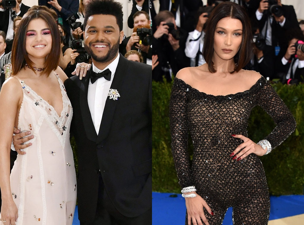 Thank You, Next -  Dressed in the revengecatsuit to end all revenge catsuits, Bella Hadid  expertly navigated what could have been quite the awkward interaction with ex-boyfriend  The Weeknd  and his date for the 2017 Met Gala, Selena Gomez . An insider told E!