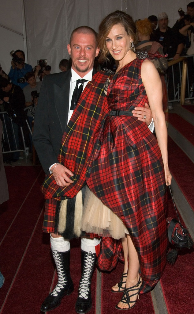 """A Legendary Pair - Sarah Jessica Parker  and late designer Alexander McQueen  were trés on theme when they rocked matching tartan plaid to the Met Gala in 2006, which was inspired by """"AngloMania: Tradition and Transgression in British Fashion."""" Care to show us a better Met Gala duo?"""