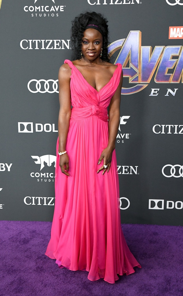 Danai Gurira -  The Black Panther star exudes elegance in a hot pink strapless gown on the carpet at the Avengers: Endgame  premiere.