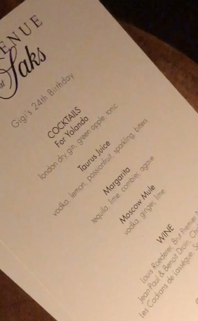 """Cocktail Menu -  Cocktails available at the bash included the """"For Yolanda"""" drink, as well as """"Taurus Juice,"""" a nod to Gigi's Taurus astrological sign."""