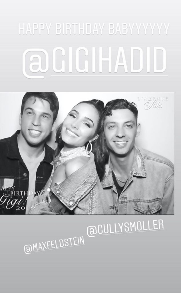 """Max Feldstein, Olivia Culpo & Cully Smoller -  Olivia  posted  a photo booth pic with her pals on social media. """"Happy birthday babyyyyyy @gigihadid,""""Olivia wrote on the Instagram Story snap."""