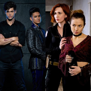Waverly and Nicole from Wynonna Earp, Magnus and Alec from Shadowhunters