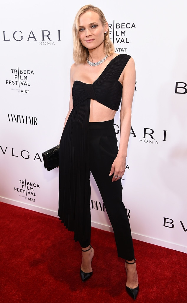 Polished Beauty -  Actress  Diane Kruger  looks stunning in an asymmetrical top with pleated train and black slacks at aBVLGARI event in New York City.
