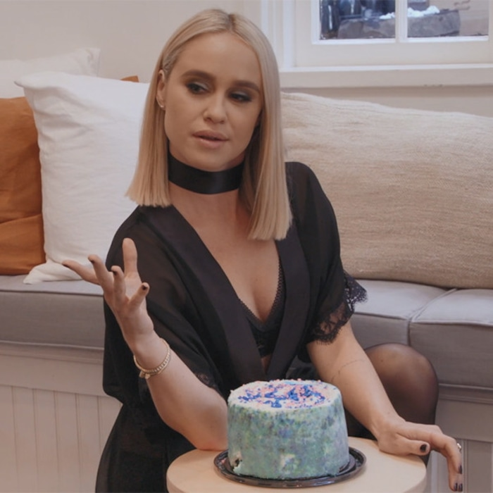 Lingerie Clad Becca Tobin Tries Cake Sitting For A Mock Fetish Video Filmed By The LADYGANG