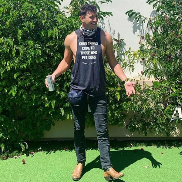 """Blake Horstmann -  """"Let's see what this stagecoach thing is all about,""""  The Bachelorette  star wrote on  Instagram  in his country best. """"#itsveryhot #amidoingthisright #ithinkifitin #itsdusty #stagecoach #yeeyee."""""""