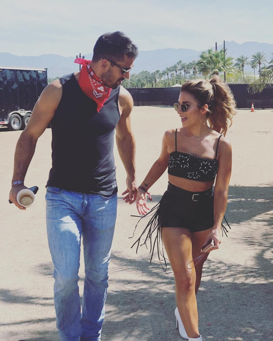 Jessie James & Eric Decker -  When the kids are away, the parents will play in the Indio, Calif., desert.