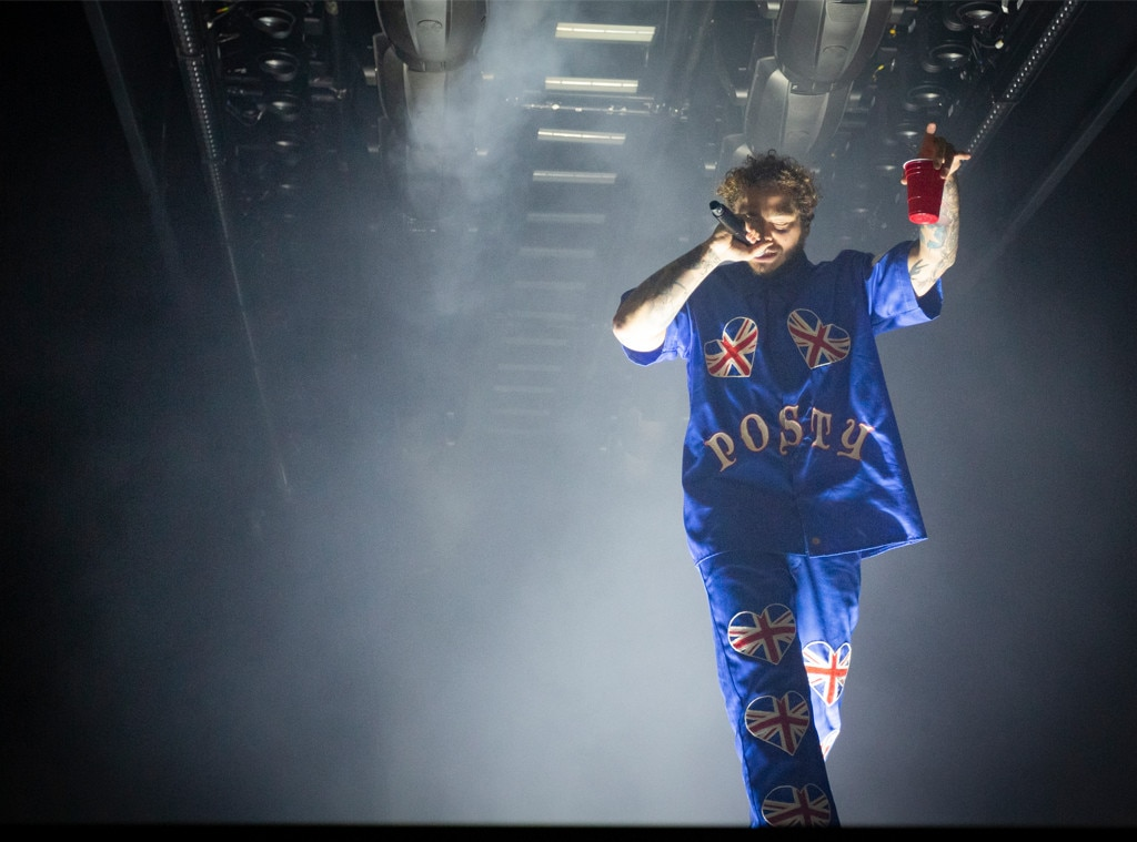 Across the Pond -  The 23-year-old performs at a concert in Manchester, England and reps the Union Jack all over his outfit. Hahn points out to E!