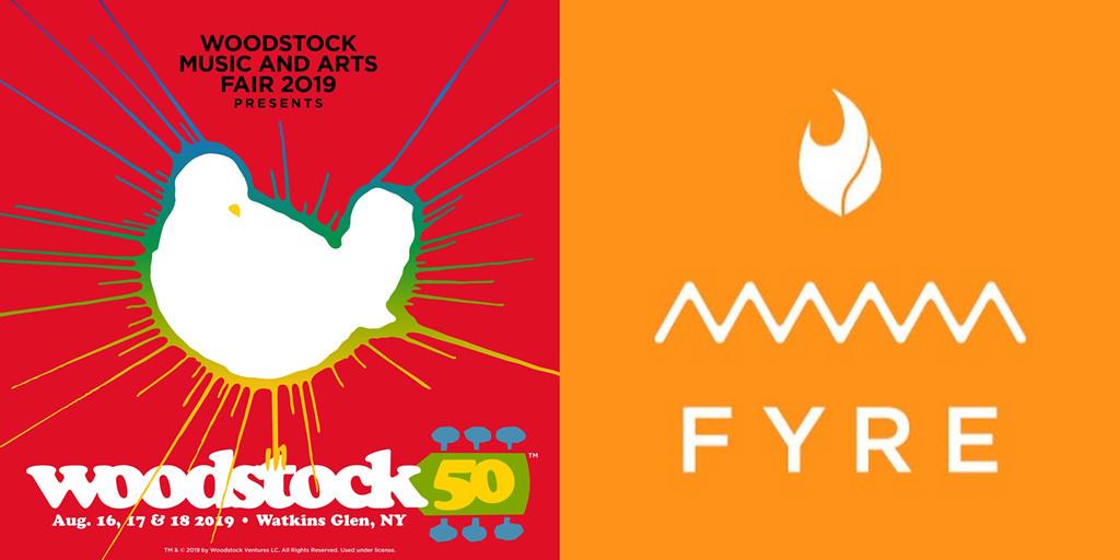Woodstock 50, Fyre Festival, Logos