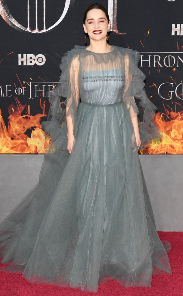 Mother of Tulle -  Emilia Clarke was a beauty dressed in grey tulle for the season 8 premiere of Game of Thrones in NYC.