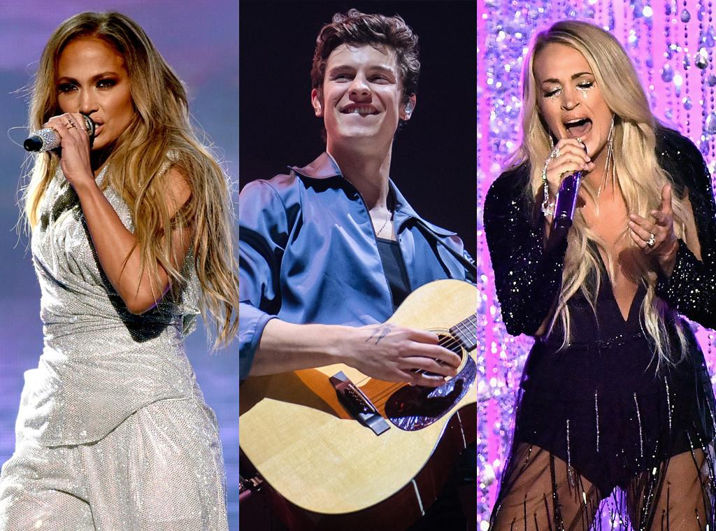 Jennifer Lopez, Shawn Mendes, Carrie Underwood