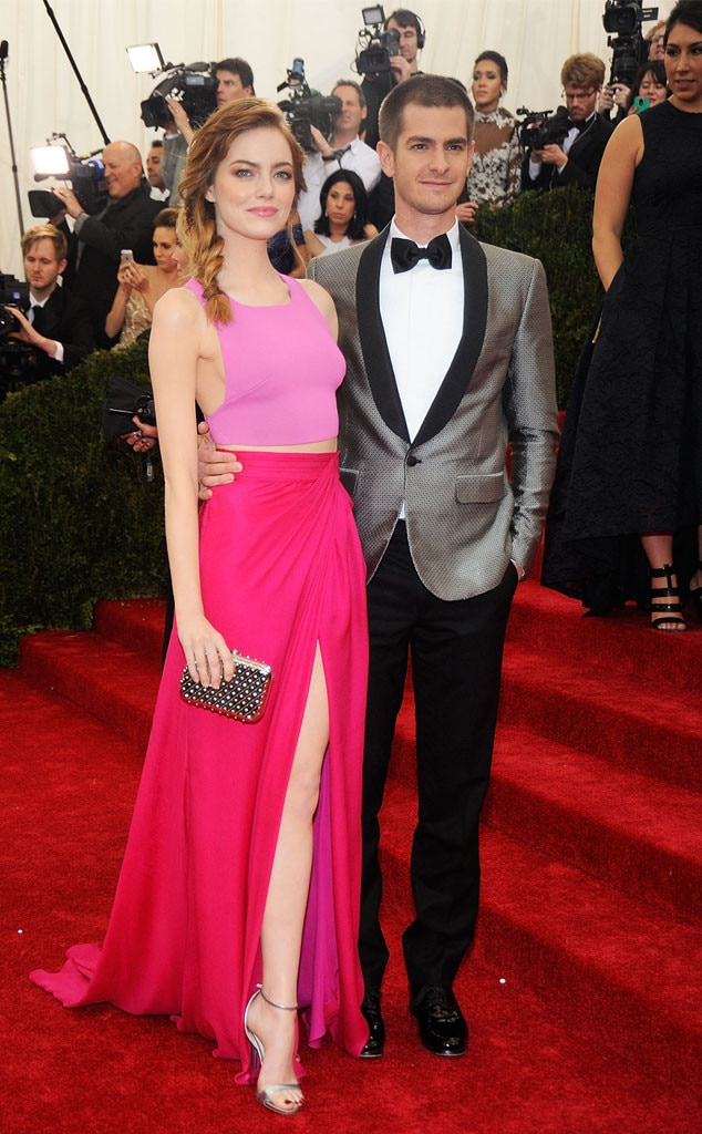 Emma Stone & Andrew Garfield -  After dating for about four years,  The Amazing Spider-Man  co-stars ended their relationship in 2015. This photo shows the stylish duo at the 2014 Met Gala.