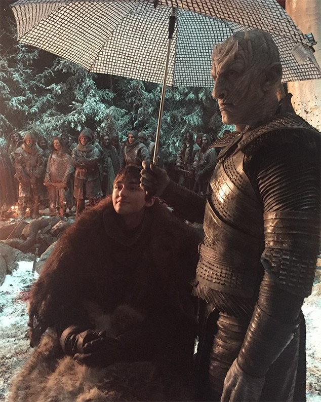 """An Alternate Ending? -  """"Here's a still taken from the alternate episode 3 ending in which the Night King becomes Bran's carer and they both live happily ever after,"""" Isaac Hempstead Wright  posted ."""