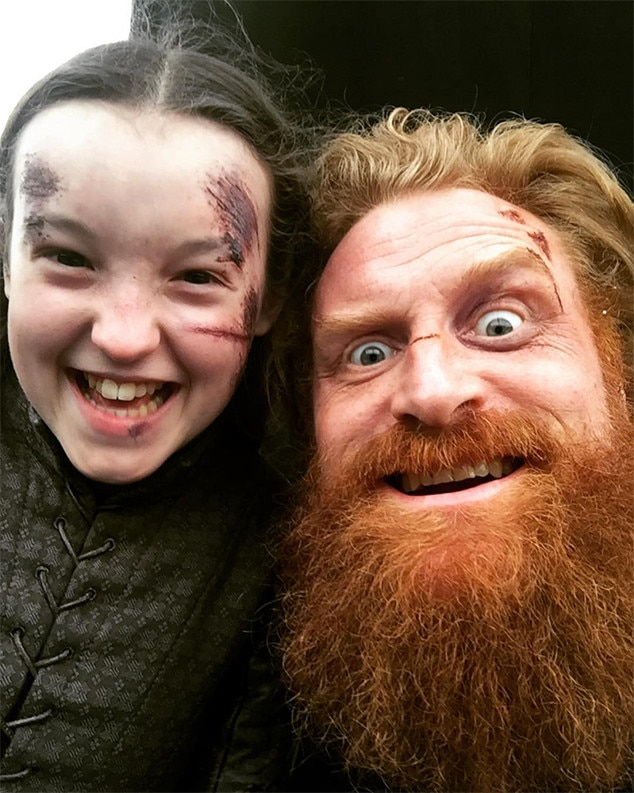 """All Smiles -  """"GiantKILLER and Mr. GiantBABE!What a blast to work with @bellaramsey A super talented, hard working and fearless actor (and worrier!) #gameofthrones #battleofwinterfell,"""" Kristofer Hivju  posted ."""