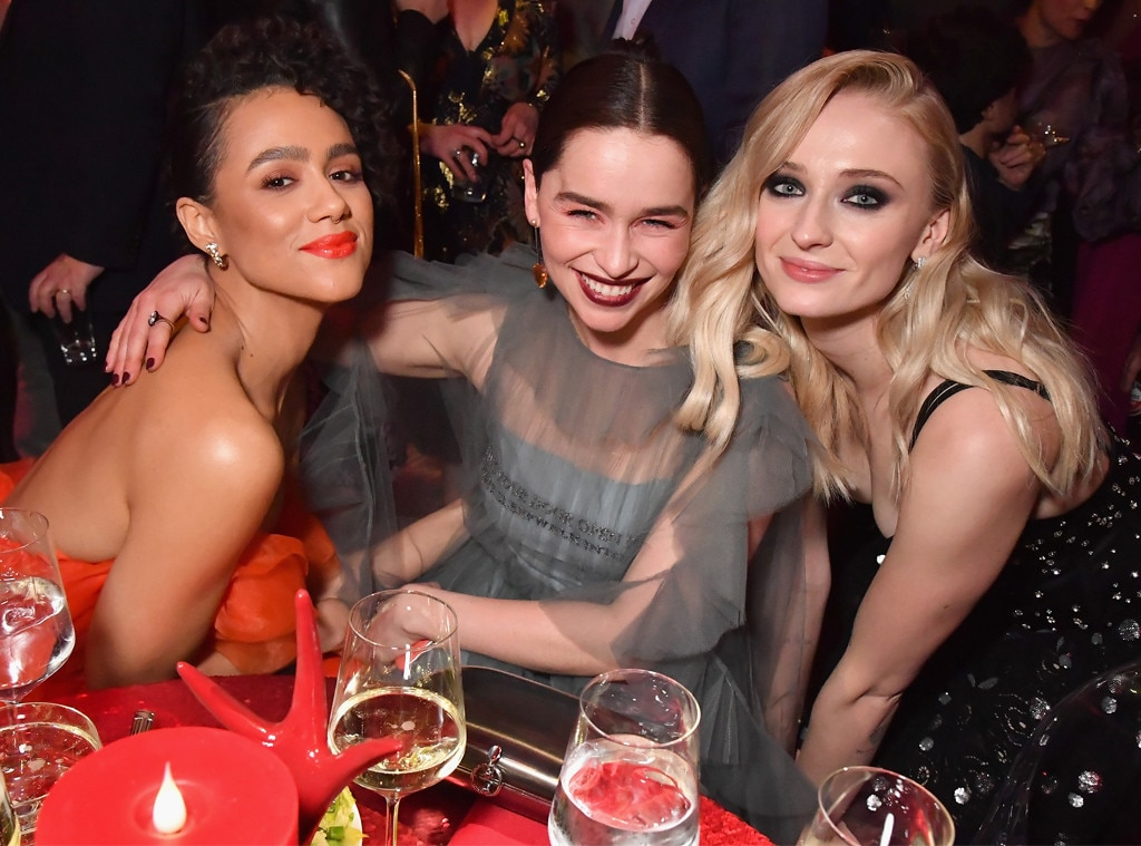 Nathalie Emmanuel, Emilia Clarke & Sophie Turner -  Fiery ladies! The trio are seen celebrating the season eight premiere of  Game Of Thrones  in New York City.