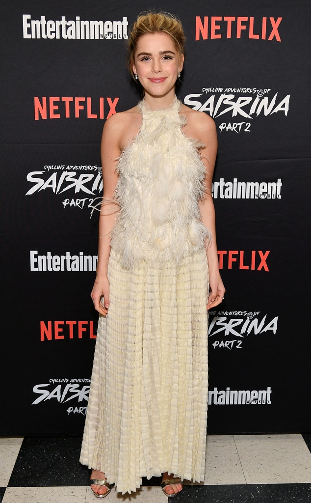 Cream of the Crop -  Actress  Kiernan Shipka  looks festive in a cream colored fluffy fringe top and detailed skirt at the screening of  Chilling Adventures of Sabrina: Part 2  in New York City.