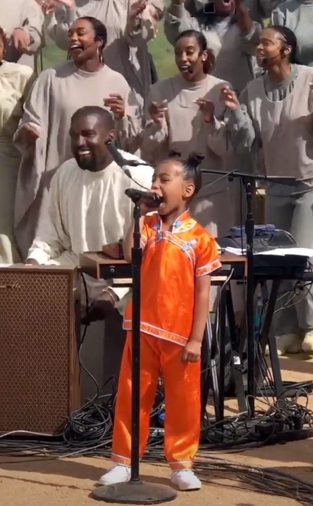 Image result for North West steals at Kanye's Sunday service (video)