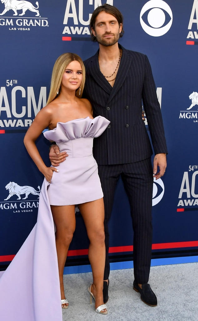 "Maren Morris & Ryan Hurd -  The Female Artist of the Year nominee wows in Custom Christian Siriano thanks to her ""edgy, elegant, sexy, confident"" look from celebrity stylist Joseph Cassell Falconer. As for Ryan, he looks pretty darn handsome in his Giorgio Armani suit."