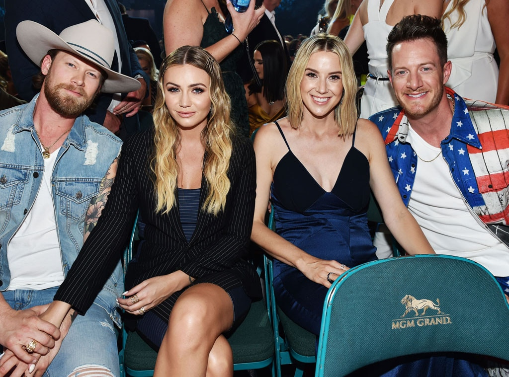 Brian Kelley, Brittney Kelley, Hayley Hubbard & Tyler Hubbard -  The  Florida Georgia Line  men and their wives smiled for the camera at their seats.