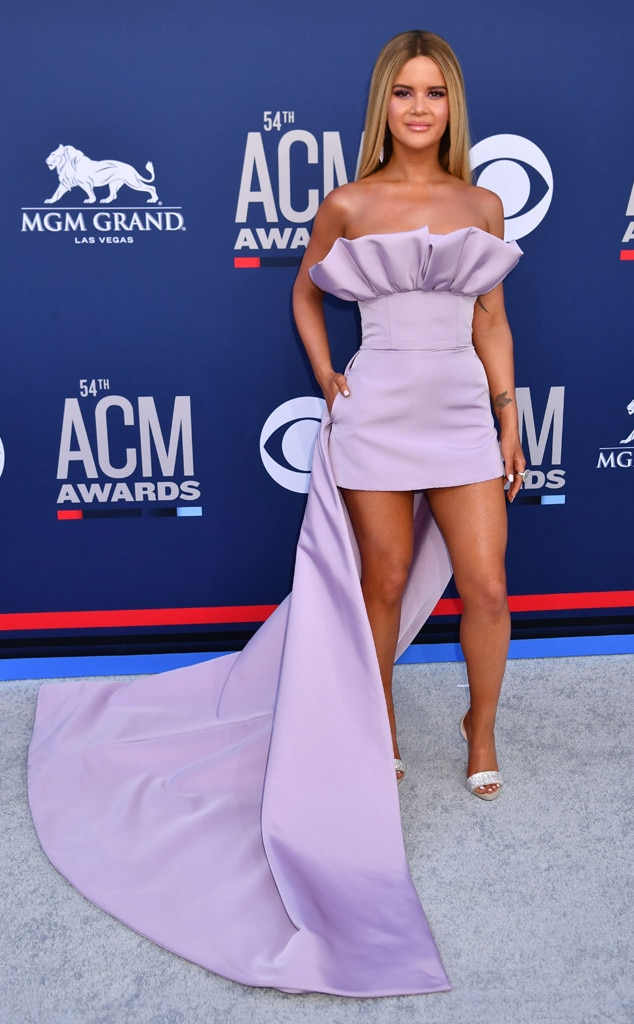 "Maren Morris -  The ""GIRL"" singer stunned in a lilac custom Christian Siriano gown with long train as she walked the carpet."