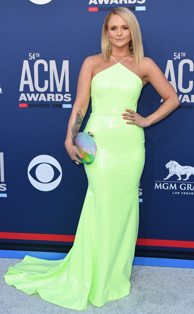 Miranda Lambert -  The blonde beauty glowed in this neon green Alex Perry frock and rainbow Benedetta Bruzziches clutch.