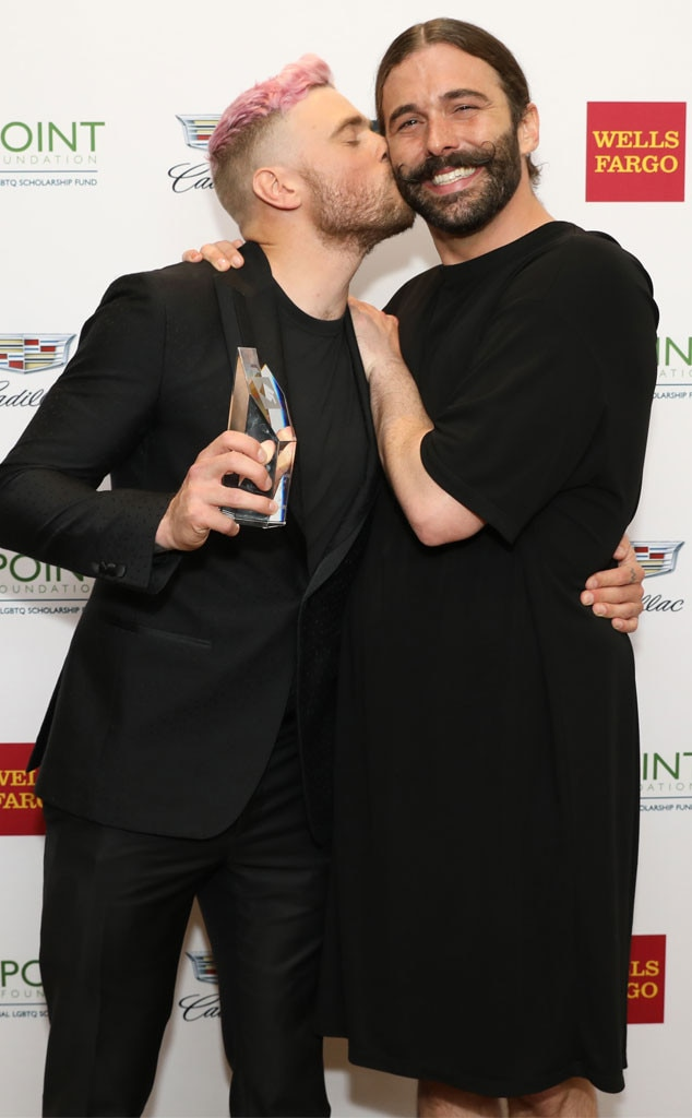 Gus Kenworthy & Jonathan Van Ness -  So cheerful! The athlete and  Queer Eye  star attend the Celebrities Support LGBTQ Education at the Point Honors Gala in New York City.