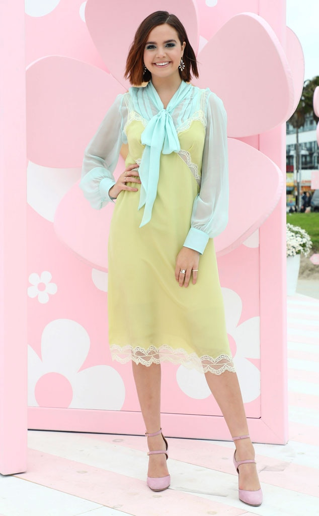 Pastel Palette -  Actress  Bailee Madison  islooking springyin a sheer blue top, lime lace dress, and pink heelsat the Marc Jacobs Daisy Love Eau So Sweet Fragrance event in Los Angeles.