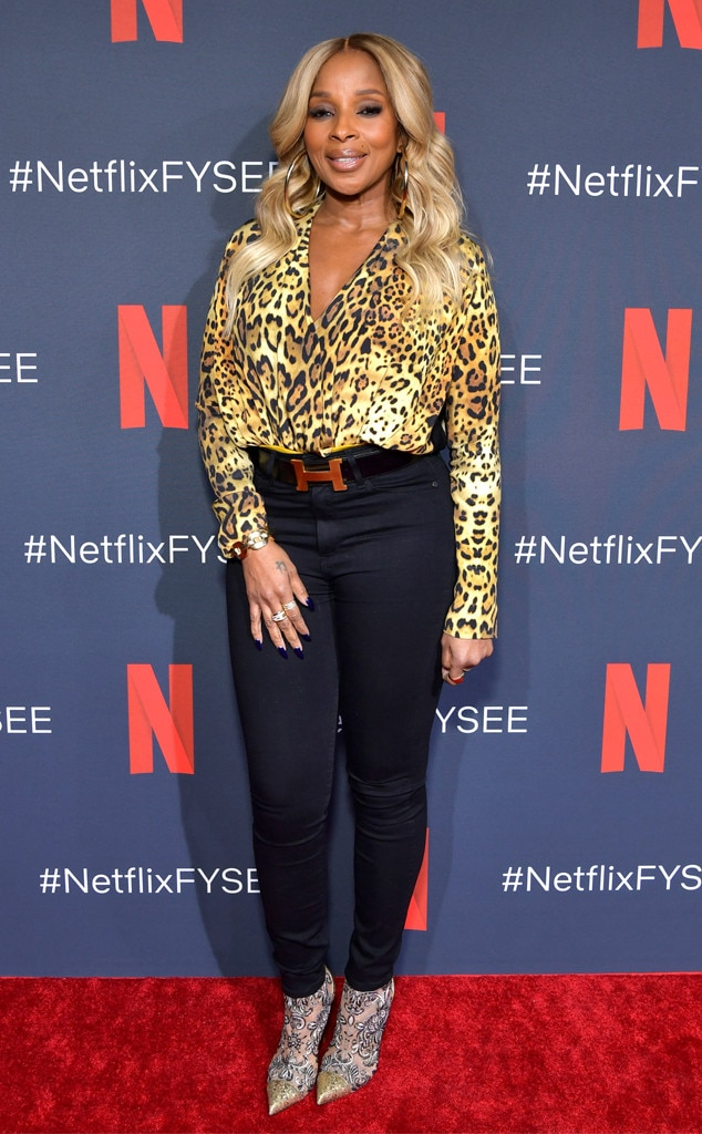 Wild Thing - Mary J. Blige  looks fierce in a leopard print blouse, Hermes belt, and gold-tipped booties at a screening of Netflix's  Umbrella Academy  in Los Angeles.