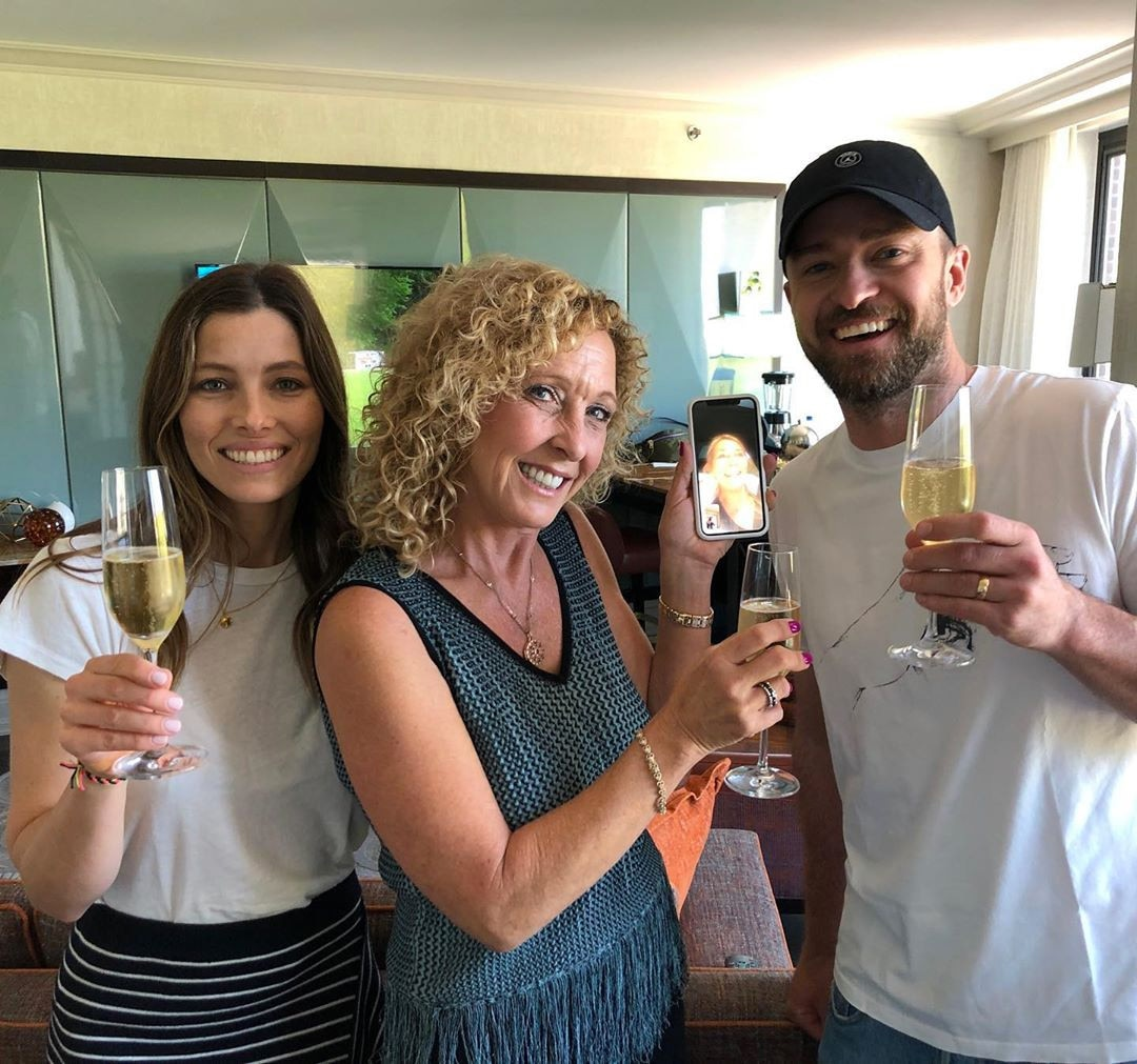 "Jessica Biel -  Jessica Biel posted this photo of herself with husband  Justin Timberbake  and his mom  Lynn Harless  FaceTiming her own mother  Kimberly Biel ,  writing , ""We're so lucky to get to spend Mother's Day two years in a row with at least one half of the dynamic duo who have been the heroes of our lives. Thank you for always teaching us important s--t and sorry that we didn't understand it until 20 years later. But seriously, Mom- you are right, you were right and you have always been right. Lol. I love you and I'm so grateful for you both."""