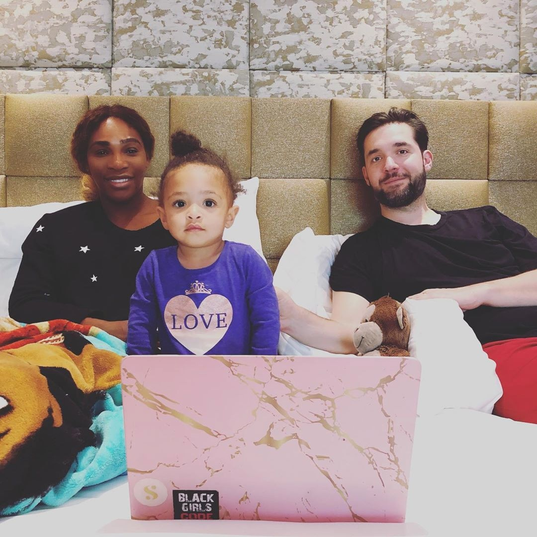 Serena Williams -  The tennis star posted this photo of her and husband  Alexis Ohanian  and their 1 and 1/2-year-old daughter  Alexis Olympia Ohanian, Jr.