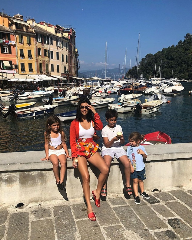 "Kourtney Kardashian -  The reality star shared this photo of her with kids  Mason ,  Penelope  and  Reign  during a trip to Portofino, Italy,  writing , ""My heartbeat."""