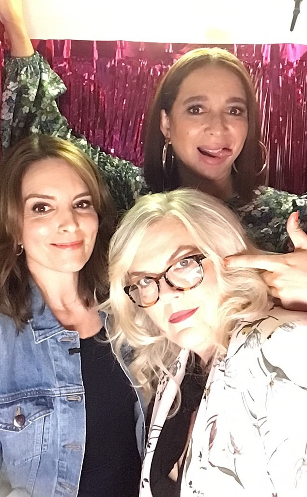 Maya Rudolph, Tina Fey & Paula Pell -  The stars of Netflix's  Wine Country  mess around in the  Busy Tonight  photo booth while the host hangs out with their friends.