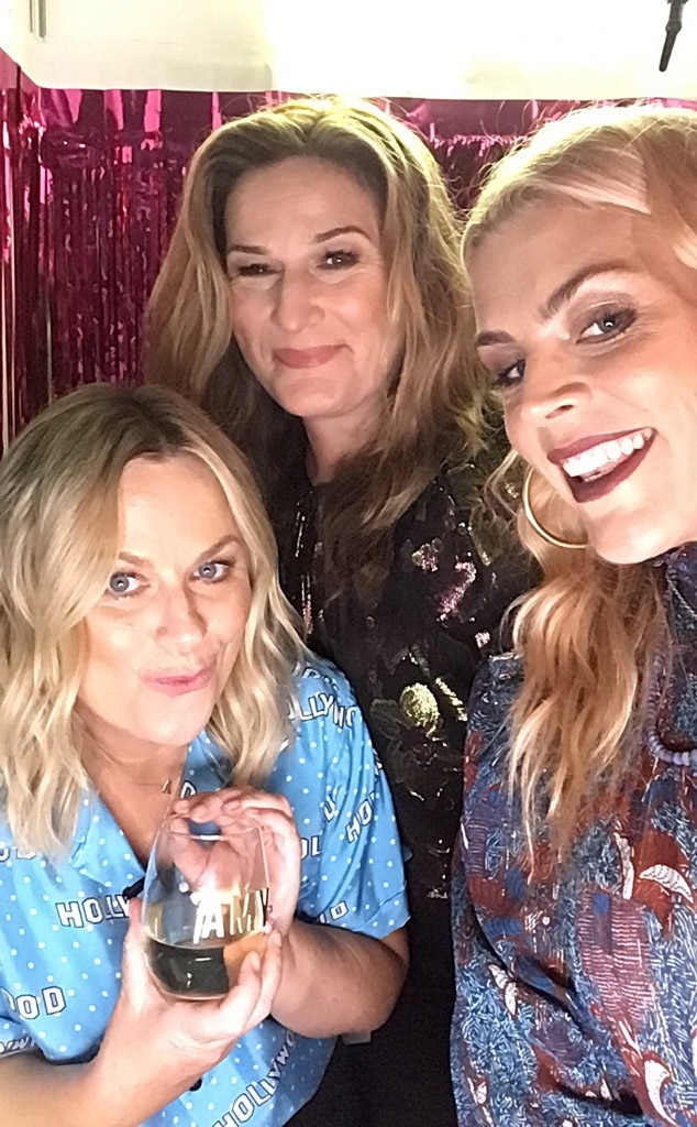 Amy Poehler & Ana Gasteyer -  The comedians appear to be having a grand old time in the photo booth with Busy and a personalized glass of white wine!