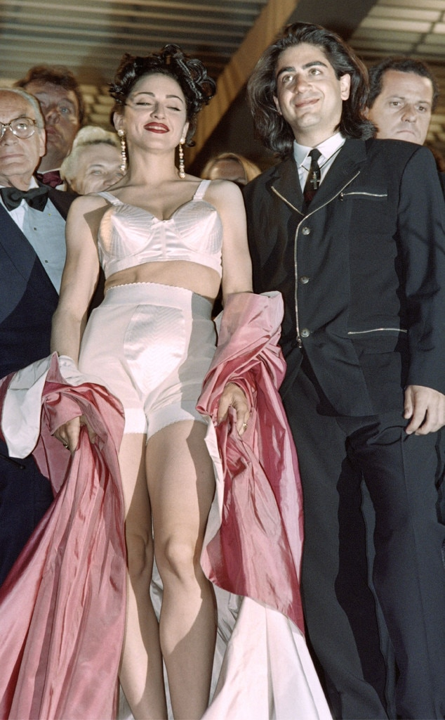 Madonna -  The Queen of Pop makes a grand entrance at the 1991 Cannes Film Festival with her satin pink robe and white lingerie set.