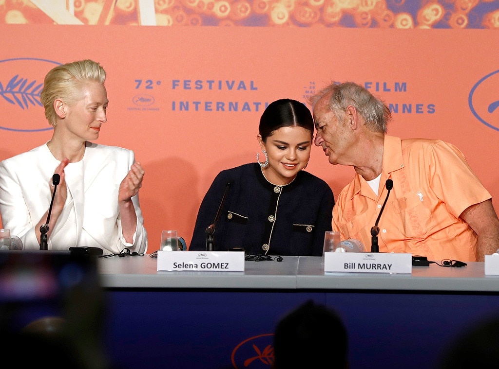 Secrets Don't Make Friends -  While at the press conference for the zombie feature film,  The Dead Don't Die , Murray leans over to whisper something in Gomez's ear. Hey, secrets don't make friends!