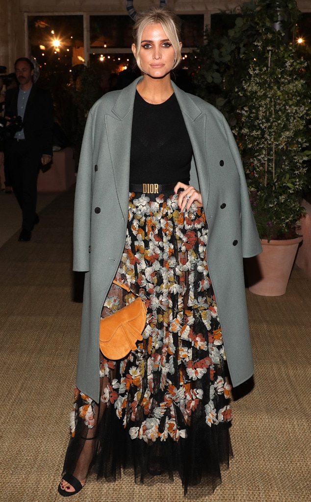Decked in Dior -  Reality TV star  Ashlee Simpson  is looking chic in a mesh floral dress, green coat and saddle bag at the Dior Dinner Party during Cannes Film Festival.