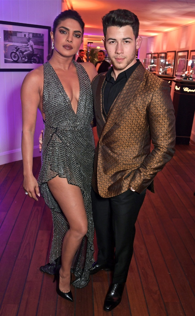 Priyanka Chopra & Nick Jonas -  Priyanka Chopra shows some leg in a stunning black dress at the Vanity Fair and Chopard Party in Cap d'Antibes.