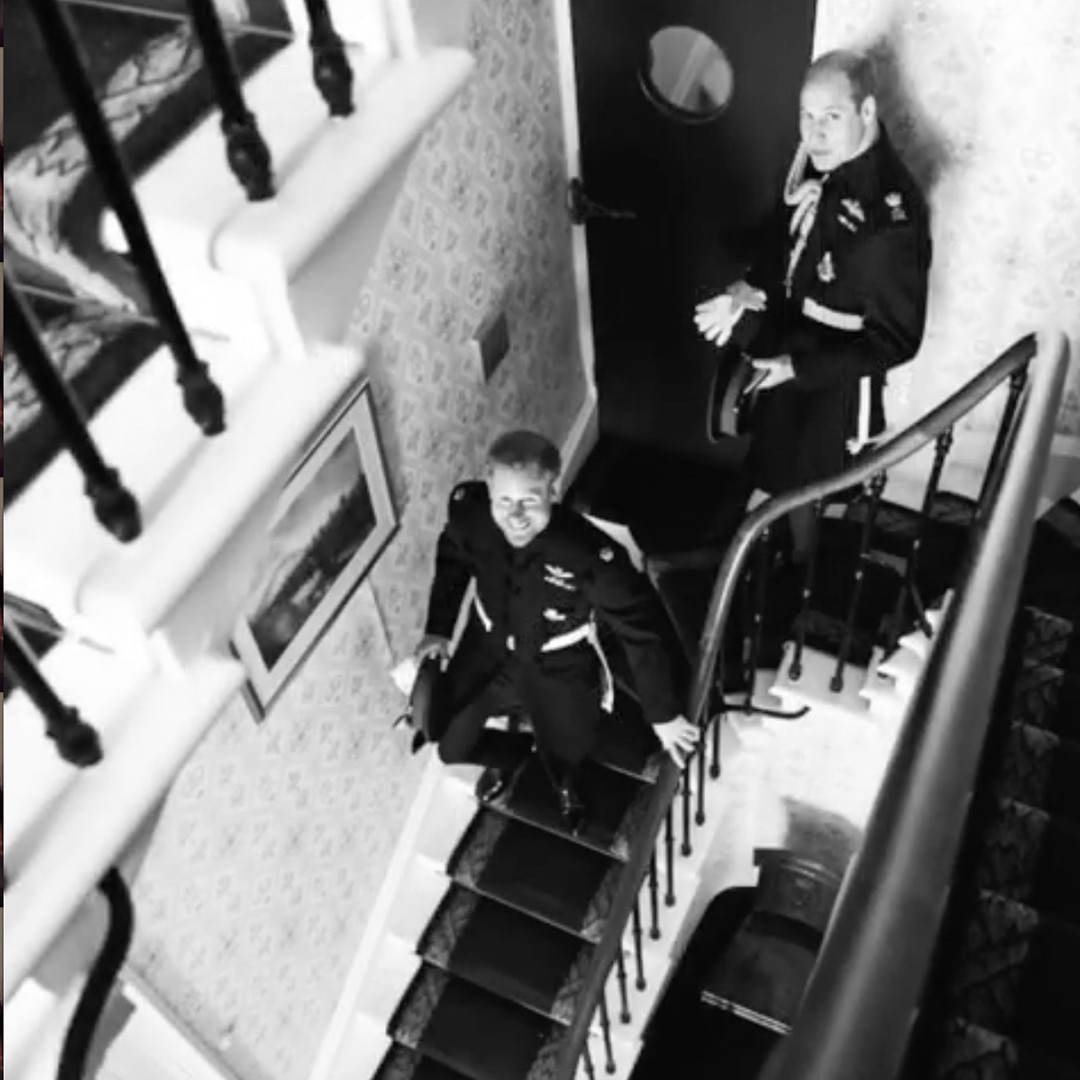 Two Princes - Prince Harry  and brother and best man  Prince William  make their way down a stairwell.
